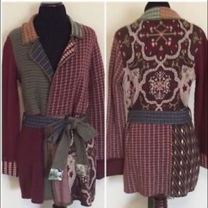 Anthropologie Sparrow Patchwork Jacquard Cardigan